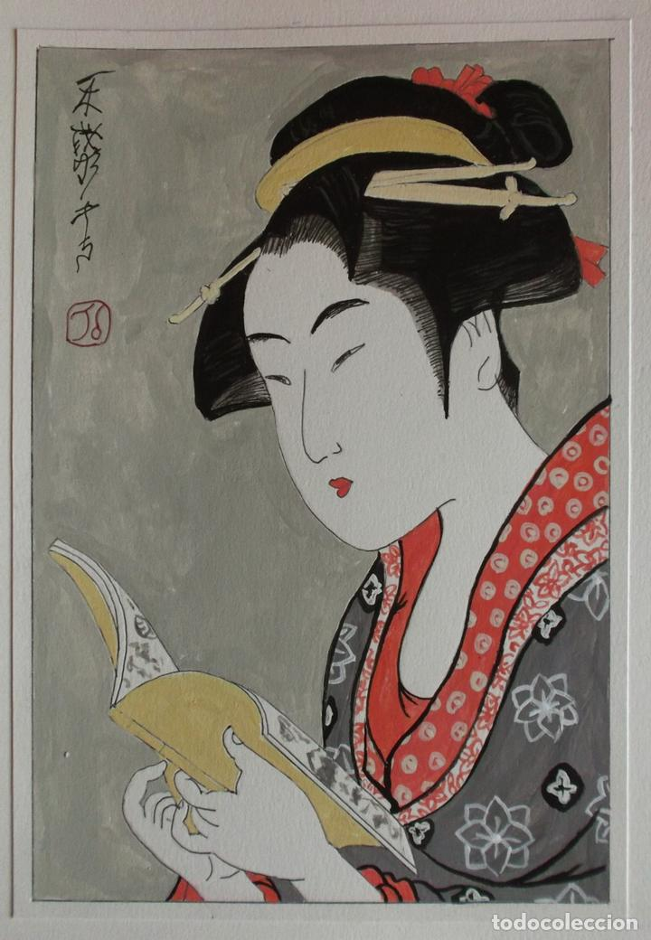 ACUARELA DE ESTILO JAPONÉS TRADICIONAL (Arte - Acuarelas - Contemporáneas siglo XX)