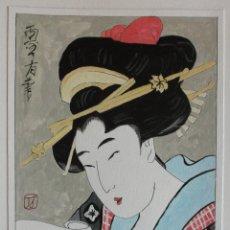 Arte: ACUARELA DE ESTILO JAPONÉS TRADICIONAL. Lote 134856854