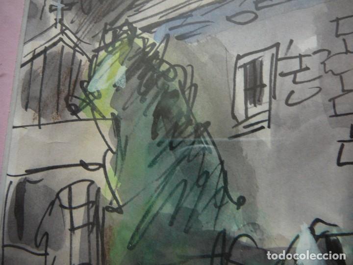 Arte: Acuarela y rotulador. Pueblo inglés.Cuadro enmarcado. - Foto 3 - 135052694