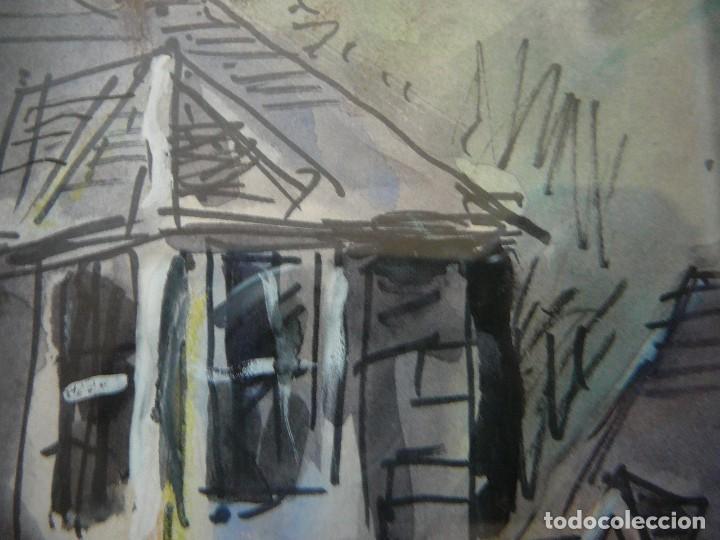Arte: Acuarela y rotulador. Pueblo inglés.Cuadro enmarcado. - Foto 4 - 135052694