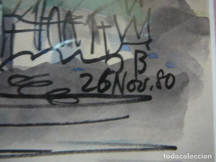 Arte: Acuarela y rotulador. Pueblo inglés.Cuadro enmarcado. - Foto 5 - 135052694