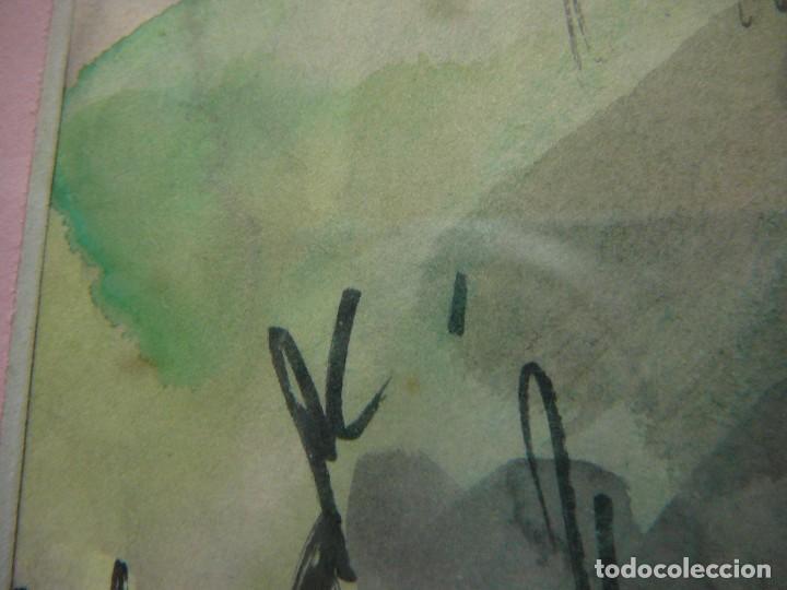 Arte: Acuarela y rotulador. Pueblo inglés.Cuadro enmarcado. - Foto 6 - 135052694
