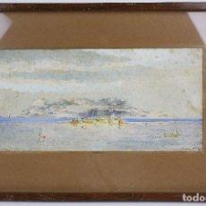 Arte: BONAVENTURA POLLÉS I VIVÓ (1857 - 1918), BAHÍA DE ALGECIRAS, 1917, ACUARELA. 50X33CM. Lote 135085270