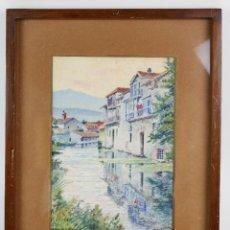 Arte: BONAVENTURA POLLÉS I VIVÓ (1857 - 1918), BARCENILLA, 1916, ACUARELA. 29X37CM. Lote 135085986