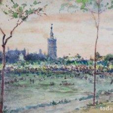 Arte: BONAVENTURA POLLÉS I VIVÓ (1857 - 1918), SEVILLA, LA GIRALDA, 1919, ACUARELA. 40X31CM. Lote 135086518