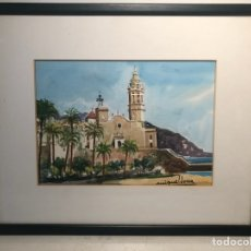 Arte: PAISAJE, ACUARELA DEL PINTOR MIQUEL DORCA.. Lote 135123378