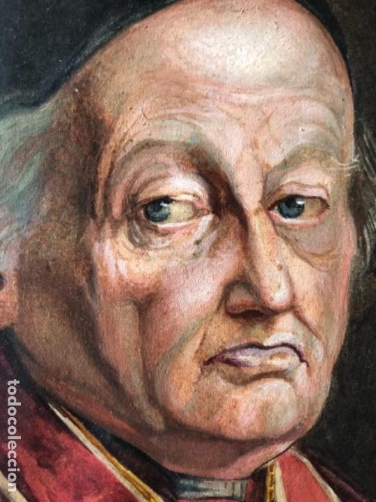 Arte: PINTURA GOUACHE RETRATO MONSEÑOR, CARDENAL, OBISPO, FIRMADO NATALE SCHIAVON F. SIGLO XVIII - Foto 4 - 135243022