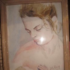 Arte: MANUEL REIG PRESTIGIOSO PINTOR DE ALICANTE MATERNIDAD PINTURA ANTIGUA ACUARELA. Lote 135253658