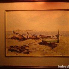 Arte: ANTIGUA PINTURA ALICANTINA DE MANUEL REIG BARCAS Y ALICANTE DE FONDO. Lote 135268118