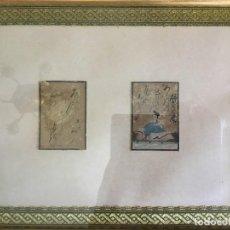 Arte: MINIATURAS DE LA ESCUELA JAPONESA ANTIGUA CON ESCRITURA ENMARCADAS JUNTAS. Lote 135578154