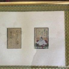 Arte: MINIATURAS DE LA ESCUELA JAPONESA ANTIGUA CON ESCRITURA ENMARCADAS JUNTAS. Lote 135578230