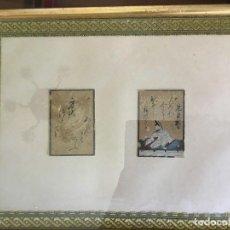 Arte: MINIATURAS DE LA ESCUELA JAPONESA ANTIGUA CON ESCRITURA ENMARCADAS JUNTAS. Lote 135578362