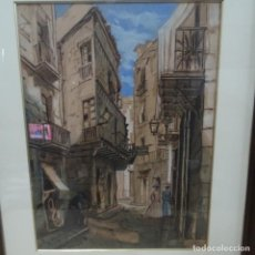 Arte: ACUARELA DE FRANCISCO BUYE 1949.CALLE GRACIAMAT DE BARCELONA.. Lote 135673107