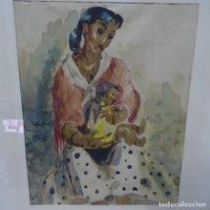 Arte: ACUARELA FIRMA ILEGIBLE.MATERNIDAD.GITANA CON NIÑO.BUEN TRAZO.. Lote 135673279