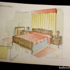 Arte: DIBUJO ORIGINAL EN ACUARELA DE DORMITORIO. UTILIZADO COMO BOCETO MUEBLES JOSAR. BILBAO. AÑOS 50. Lote 135673333