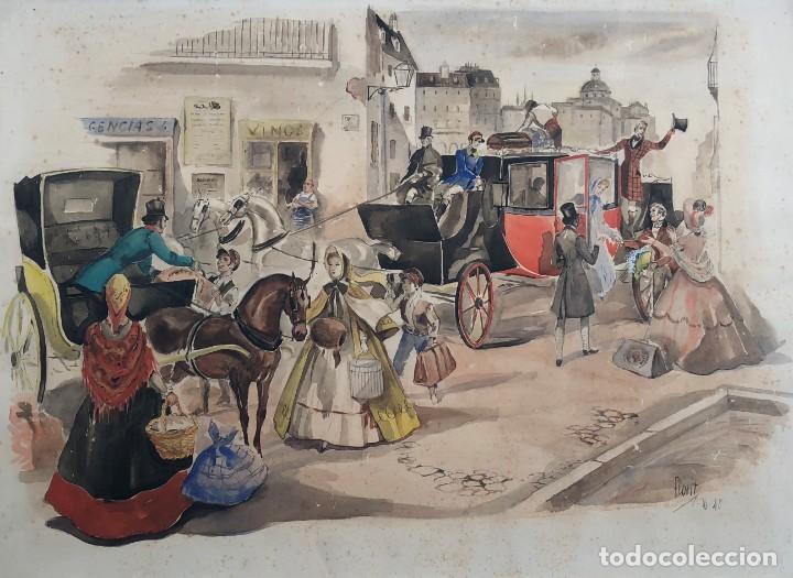 JOSÉ LUIS FLORIT RODERO (1909-2000) - ESCENA COSTUMBRISTA - ACUARELA (Arte - Acuarelas - Contemporáneas siglo XX)