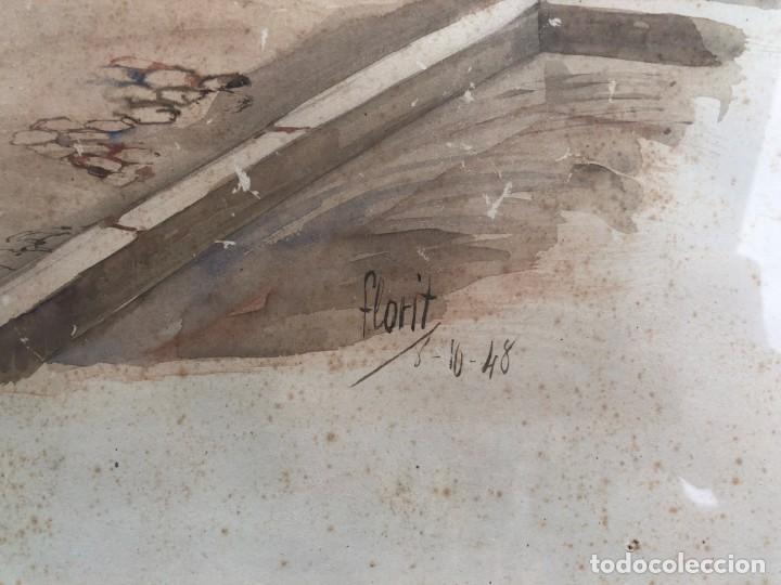 Arte: José Luis Florit Rodero (1909-2000) - Escena costumbrista - Acuarela - Foto 3 - 135826130