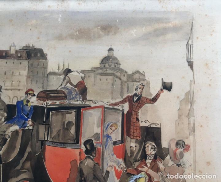 Arte: José Luis Florit Rodero (1909-2000) - Escena costumbrista - Acuarela - Foto 4 - 135826130