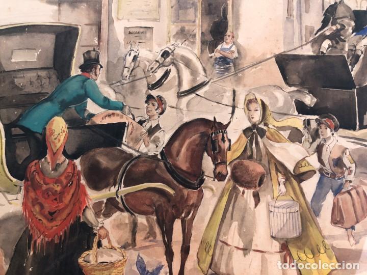 Arte: José Luis Florit Rodero (1909-2000) - Escena costumbrista - Acuarela - Foto 5 - 135826130
