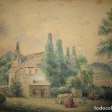Arte: ACUARELA ANTIGUA SOBRE CARTON DURO CIRCA 1903 FIRMADA EN REVERSO. Lote 135920326