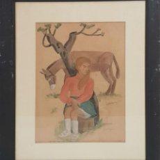 Arte: JOVEN SENTADA. ACUARELA SOBRE PAPEL. JOAQUIM SUNYER MIRÓ. SIGLO XIX.. Lote 135996414