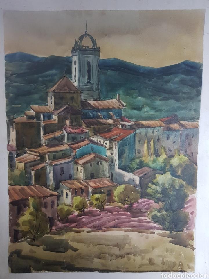 RAMON CASTELLS I SOLEY PAISAJE DE PUEBLO (Arte - Acuarelas - Contemporáneas siglo XX)