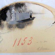 Arte: ANTIGUO PAÍS ABANICO : ACUARELA ORIGINAL MOTIVO EL LAGO. FIRMA: LLORENS V. Lote 136200494