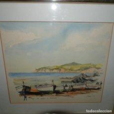 Arte: ACUARELA DE CALELLA DE PALAFRUGELL CON FIRMA ILEGIBLE.BUEN TRAZO.. Lote 136369186