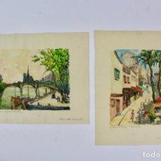 Arte: LA-16 LOTE DE 2 ACUARELAS .PAISAJES PARISINOS.FIRMADO RANVO.FRANCIA.MEDIADOS DE SIGLO XX.. Lote 136378330