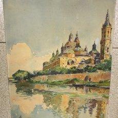 Arte: ACUARELA TEMPLO NUESTRA SEÑORA DEL PILAR. ZARAGOZA. AÑO 1943. Lote 136448353