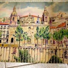 Arte: ACUARELA IGLESIA DE SAN NICOLAS DE BILBAO EN 1874. AÑO 1943. Lote 136448654