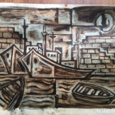 Arte: ACUARELA PUERTO MARITIMO YSASI. Lote 136684558