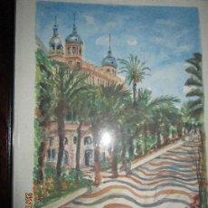 Arte: CUADRO ACUARELA ORIGINAL EXPLANADA EDIFICIO CARBONELL ALICANTE Y CASTILLO FIRMA I GARRIDO . Lote 136853930