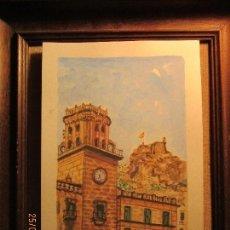 Arte: PINTURA ALICANTINA CUADRO ACUARELA AYUNTAMIENTO ALICANTE JUNTO A CASTILLO FIRMADA. Lote 153361272