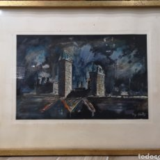 Arte: PEPO CANTOS (ALICANTE 1941-1998) IMPORTANTE ACUARELA, VISTA NOCTURNA. FIRMADA.. Lote 137333144