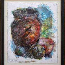 Arte: EXCELENTE BODEGON, CON BRILLANTE Y ORIGINAL PINCELADA, FIRMADO J. SANZ. Lote 137407838