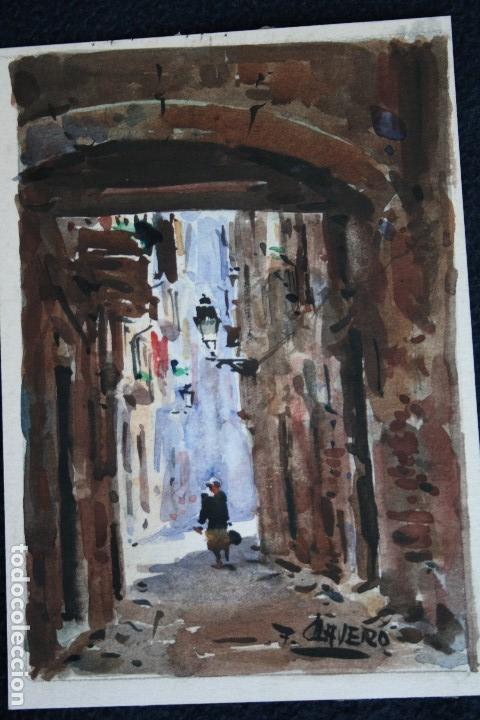 Arte: FRANCISCO CLAVERO MEDINA (VÉLEZ, MÀLAGA, 1927) ACUARELA , CALLE DE PUEBLO - Foto 2 - 137435522