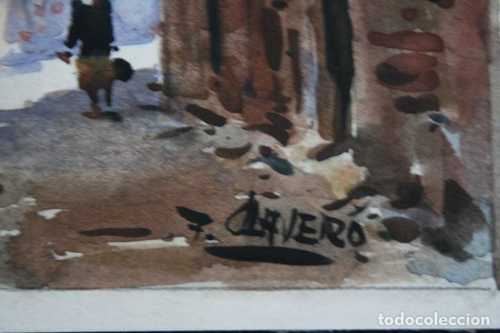 Arte: FRANCISCO CLAVERO MEDINA (VÉLEZ, MÀLAGA, 1927) ACUARELA , CALLE DE PUEBLO - Foto 3 - 137435522