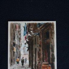 Arte: FRANCISCO CLAVERO MEDINA (VÉLEZ, MÀLAGA, 1927) ACUARELA , CALLE DE PUEBLO. Lote 137436038