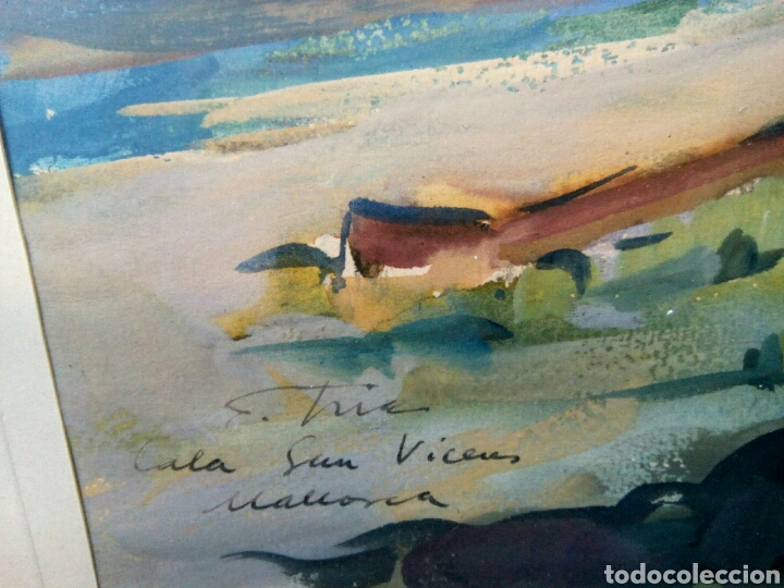 Arte: Fidel Trias Pages. (Sabadell 1918 -1971). Cala Sant Vicent. Mallorca. - Foto 4 - 137577341