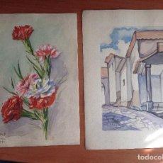 Arte: DIEGO SILVA. PAREJA DE ACUARELAS. FLORES Y ARQUITECTURA.. Lote 137879466
