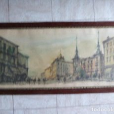 Arte: ACUARELA GRAN TAMAÑO. MADRID, ALCALDIA DEL RASTRO. FIRMADA POR LOPEZ-SOLDADO. 48 X 98 CM MEDIDAS. Lote 137891506