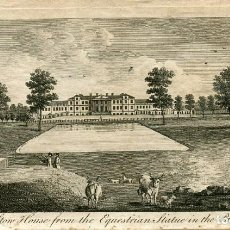 Arte: STOW HOUSE FROM THE EQUESTRIAN STATUE IM THE PARK 1776. Lote 138007002