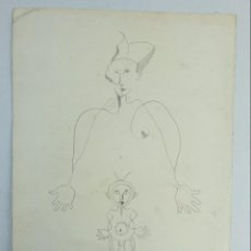 Arte: DIBUJO A LÁPIZ NIÑO Y ARLEQUÍN FIRMADO SALES CANO SEGUNDA MITAD SIGLO XX. Lote 138037102