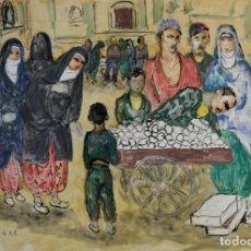 Art: JOU SENABRE (1893-1978) ACUARELA Y GOUACHE SOBRE PAPEL MERCADO ÁRABE FIRMADO POR EL ARTISTA. Lote 138812090