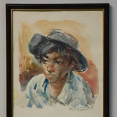 Arte: ACUARELA FIRMADA POR GEORGE STEEL.-NIÑO GITANO. SIN FECHA.. Lote 138839606