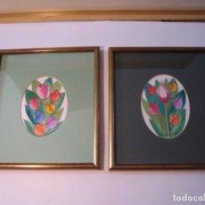 Arte: DOS CUADROS DE TULIPANES PINTADOS POR CRISTINA FONOLLOSA. Lote 138864366
