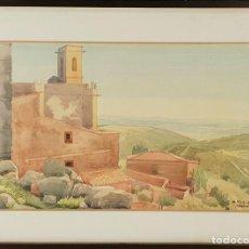 Arte: IGLESIA ROMÁNICA. ACUARELA SOBRE PAPEL. FIRMADO MANUEL PLA. 1967. . Lote 139165422