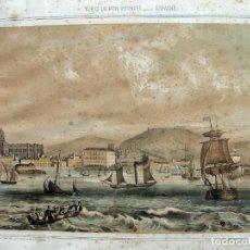 Art: CHAMAN Y P. POYATOS DIB.Y F.COURT GRABADO ORIGINAL ( 1850 ) MALAGA VISTA TOMADA DEL PUERTO. Lote 139354922