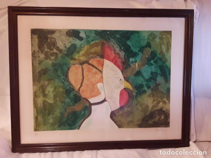 Arte: Magnifico cuadro técnica mixta mujer con máscara de ave firmado 1990 - Foto 2 - 139476966